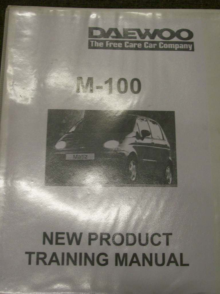 DAIWOO MATIZ M100 REPAIR 1999 2000 TRAINING MANUAL