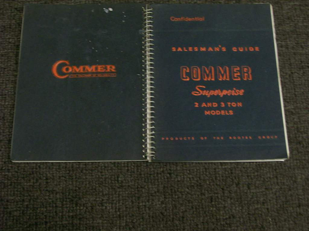 COMMER SALESMAN GUIDE 2 & 3 TON 1949 TRUCK SPIRAL BOOK