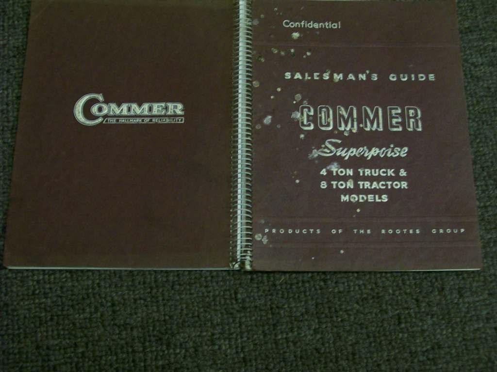 COMMER SALESMAN GUIDE 4 & 8 TON 1950 TRUCK TRACTOR SPIRAL BOOK