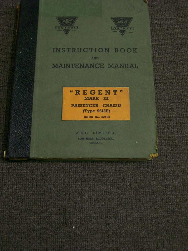 AEC REGENT MARK 3 9612E BUS ORIGINAL BIG REPAIR MANUAL