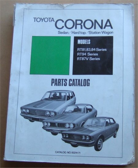 TOYOTA CORONA 1971 RT PARTS CATALOGUE