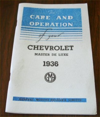 CHEVROLET 1936 AUSTRALIAN MASTER DE LUXE OWNERS MANUAL