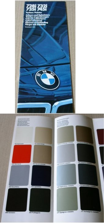 BMW 1983 728i 732i 735i 745i COLOUR UPHOLSTERY CHA