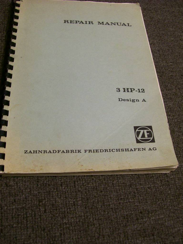ZF AUTO TRANSMISSION 3 HP - 12 DESIGN  A REPAIR MANUAL