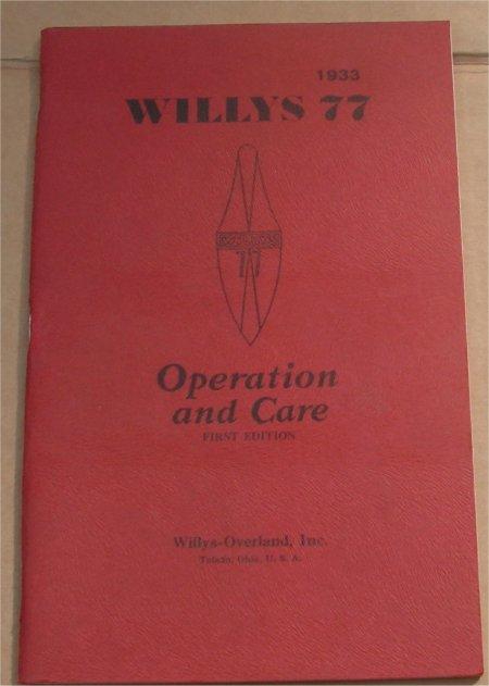 WILLYS 1933 MODEL 77 OWNERS MANUAL