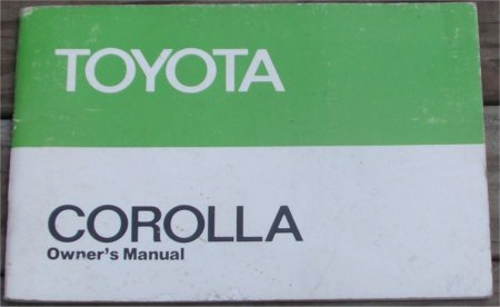TOYOTA COROLLA 1979 1980 1981 OWNERS MANUAL