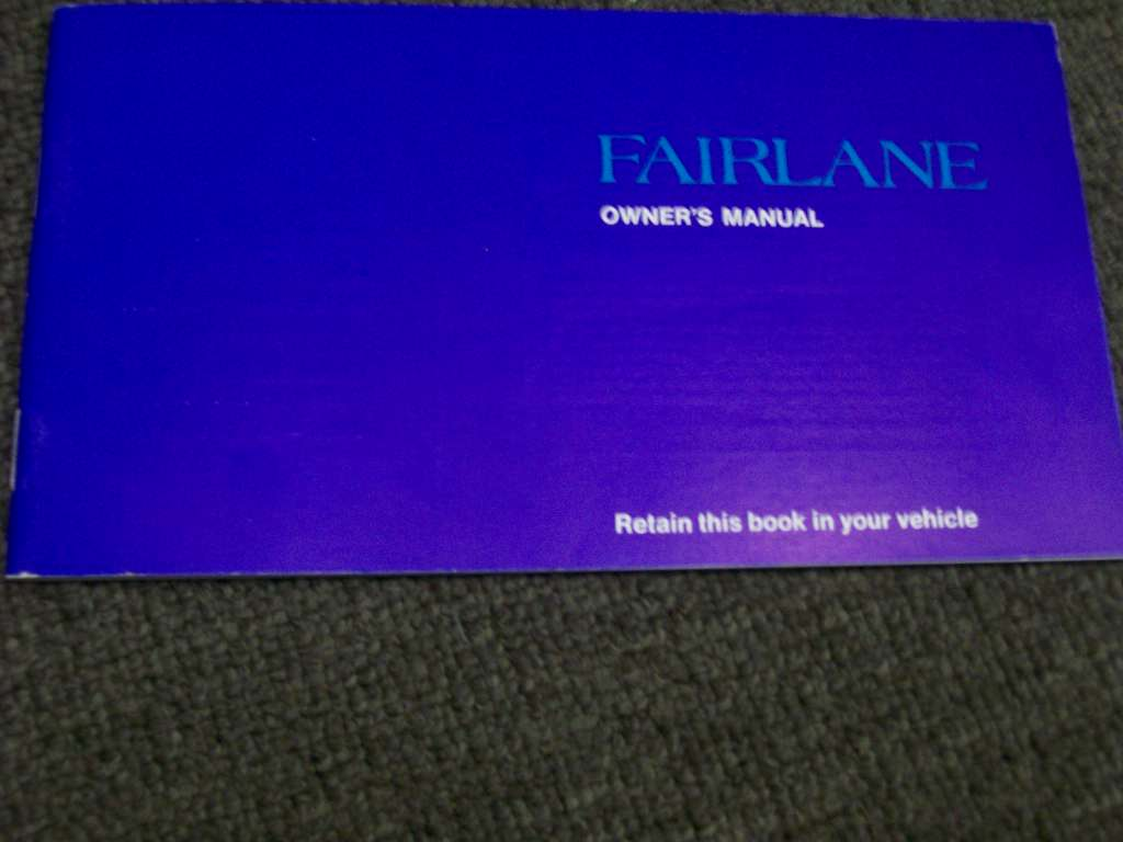 FORD FAIRLANE 1972 1973 351 302 250  ZF BLANK OWNERS MANUAL