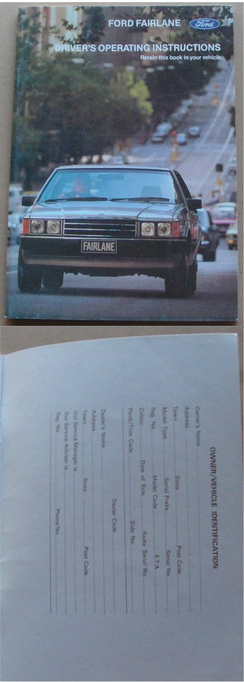 FORD FAIRLANE 1979 - 1982 ZJ 302 351 250 BLANK OWNERS MANUAL