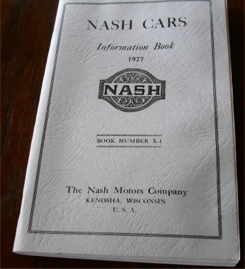 NASH 1927 INFORMATION BOOK REPRINT