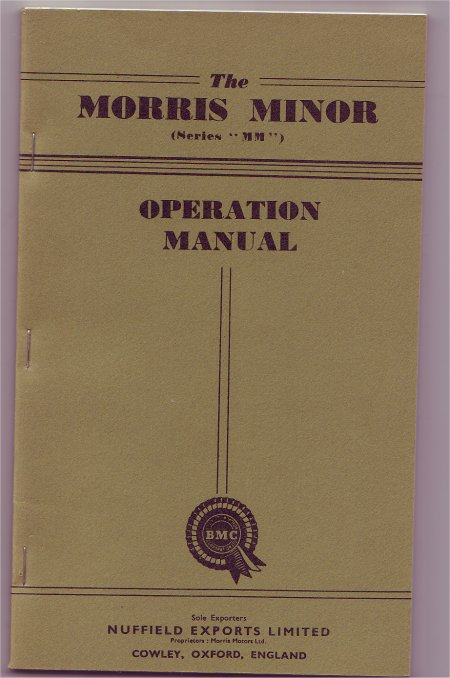 MORRIS MINOR 1951 MM ED 6 OWNERS MANUAL