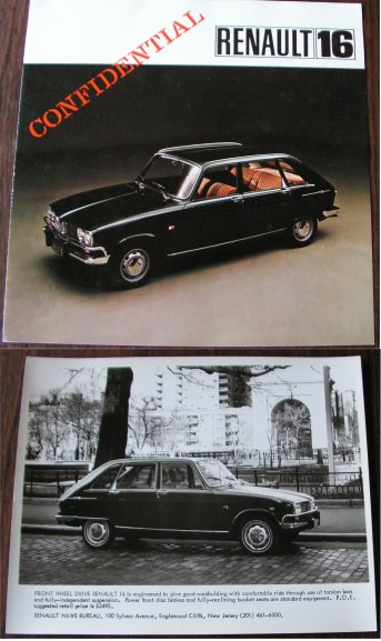 RENAULT 16 BROCHURE AND PRESS PHOTO