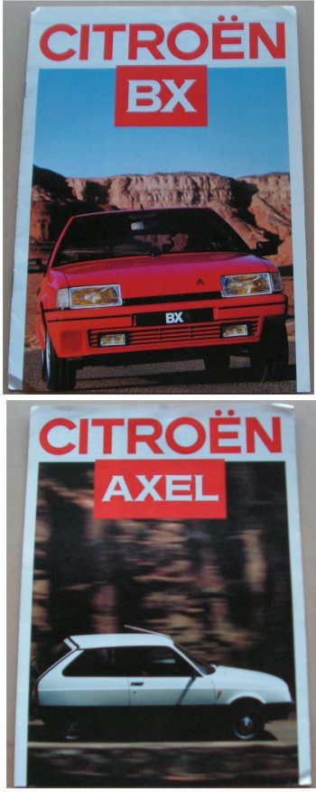 CITROEN AXEL AND BX 1986 SALES BROCHURES