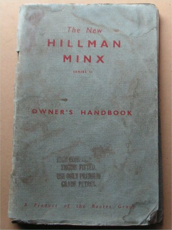 HILLMAN MINX 1958 SERIES II 2 OWNERS MANUAL