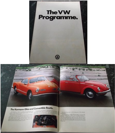 VW 1973 SALES BROCHURE KARMAN GHIA BEETLE CONVERTI