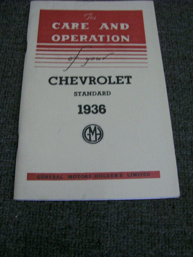 CHEVROLET 1936 STANDARD MODELS AUSTRALIAN OWNERS MANUAL