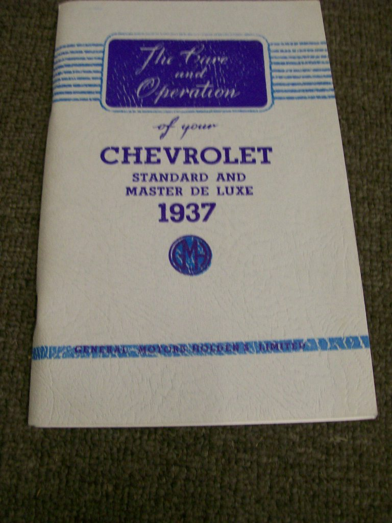 CHEVROLET 1937 STANDARD MASTER DELUXE AUSTRALIAN OWNERS MANUAL