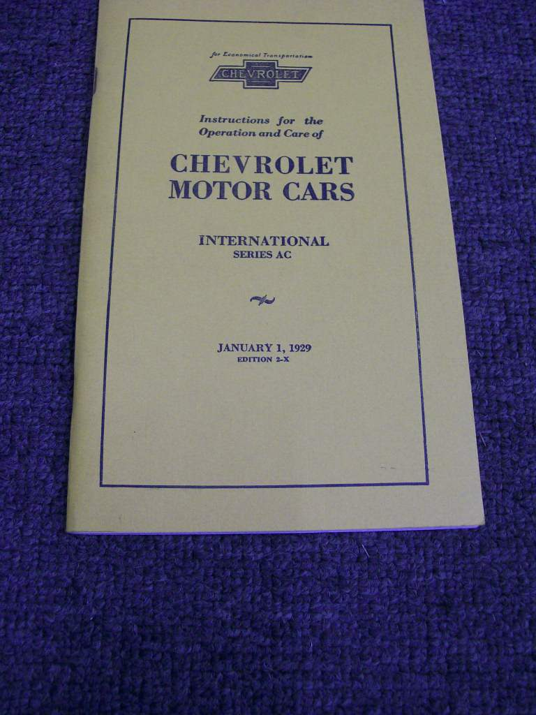 CHEVROLET 1929 AC  REPRINT OWNERS MANUAL