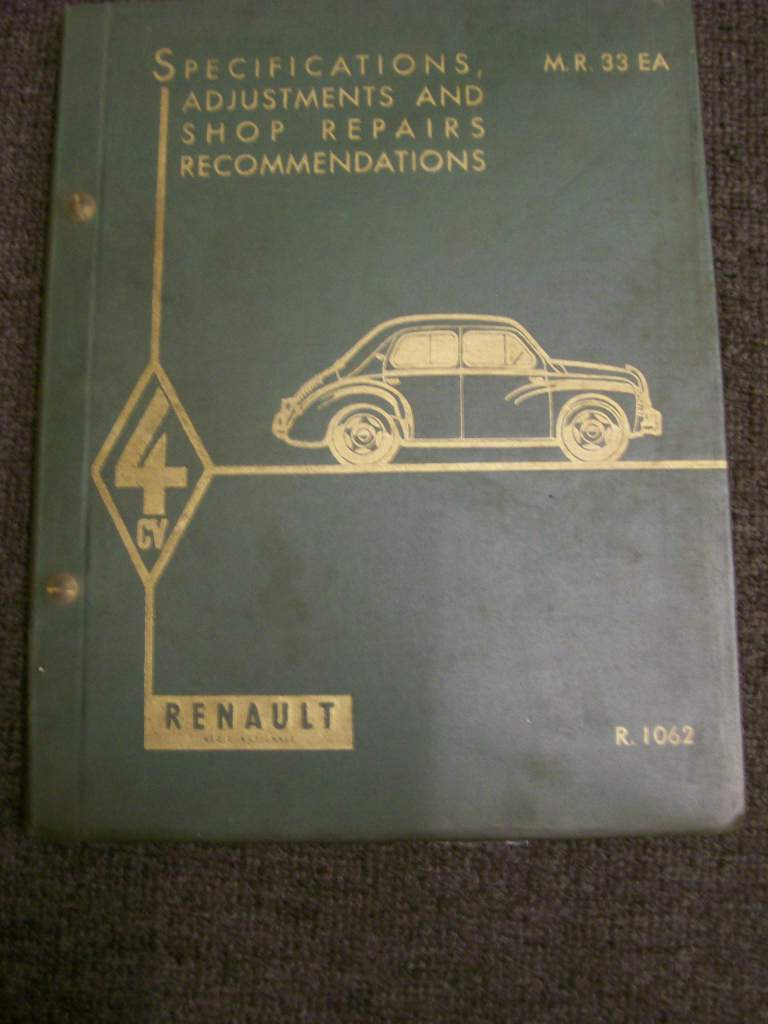 RENAULT 4CV 1957 ORIG WORKSHOP MANUAL R1062