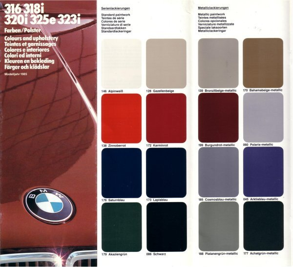 BMW 1985 316 318i 320i 325e 323i COLOUR  & TRIM FO