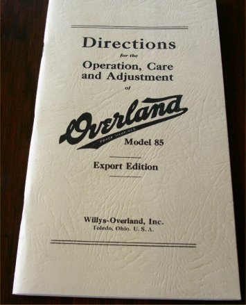 OVERLAND MODEL 85 INSTRUCTION MANUAL