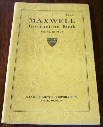 MAXWELL 1923 INSTRUCTION BOOK