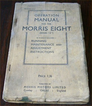 MORRIS 8 EIGHT 1939 SERIES E OWNERS MANUAL