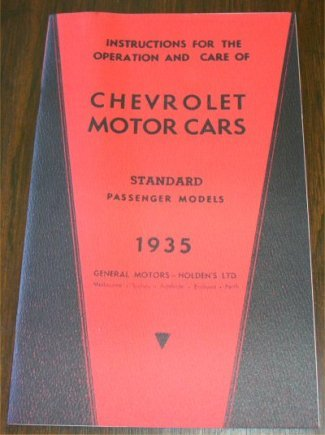 CHEVROLET 1935 AUSTRALIAN STANDARD INSTRUCTION BOOK