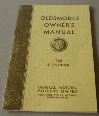 OLDSMOBILE 1935 REPRINT AUSSIE OWNERS MANUAL 8 CYLINDER