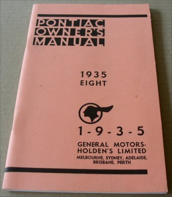 PONTIAC 1935 OWNERS MANUAL 8 CYLINDER