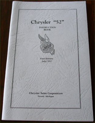 CHRYSLER 1927 52 OWNERS MANUAL