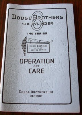 DODGE 1928 140 SERIES OWNERS MANUAL