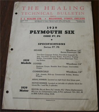 PLYMOUTH 1939 HEALING TECHNICAL BULLETIN P7 P6
