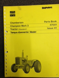 CHAMBERLAIN CHAMPION MARK3 TRACTOR STANDARD PARTS CATALOG MANUAL