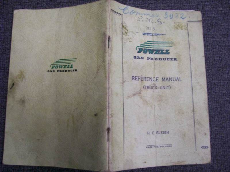 POWELL GAS PRODUCER 1941 TRUCK WARTIME OWNER MANUAL HANDBOOK