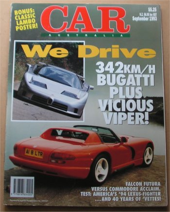 CAR 1993/09 DODGE VIPER FALCON ED COMMODORE VR