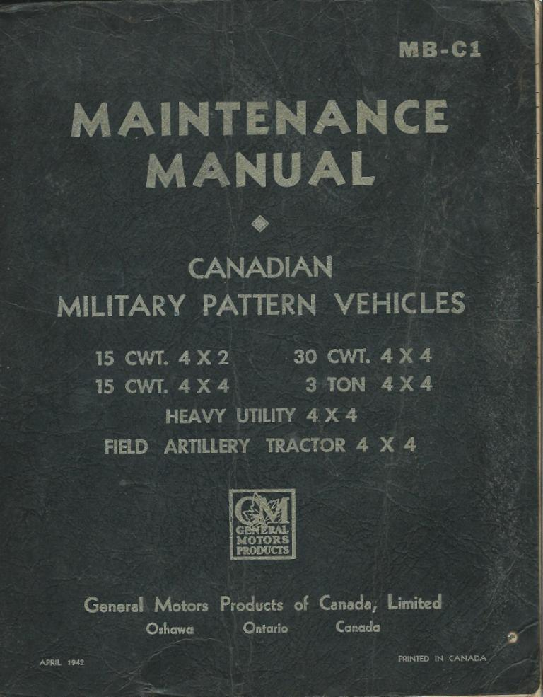 GMC BLITZ 1942 CMP MILITARY WARTIME MAINT REPAIR MANUAL MB-C1