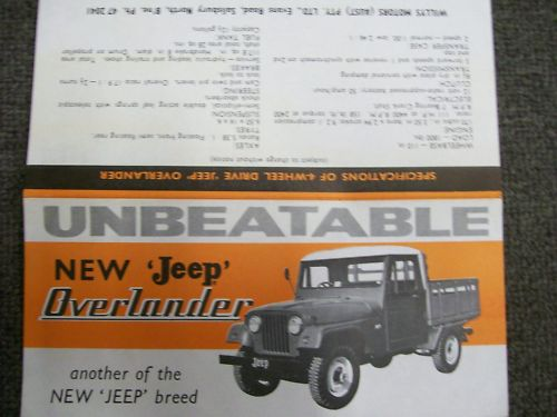 JEEP Willys 1960s Overlander model AUSTRALIAN Brochure
